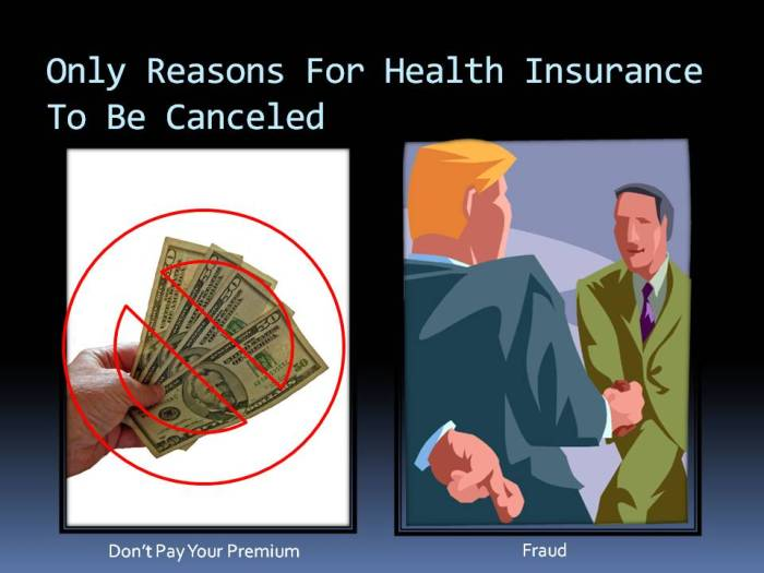 Reasons to cancel health insurance